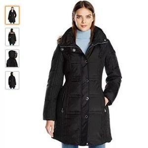 Anne Klein mid-length down coat with zip off hood